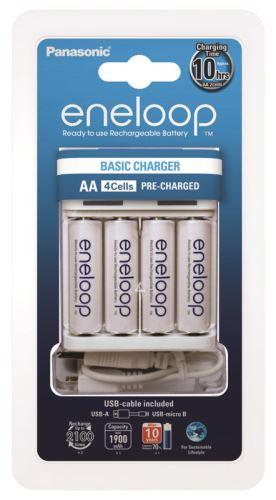 Nabíječka Panasonic Eneloop Charger BQ-CC61 + 4xBK-3MCCE, AA, 1900mAh