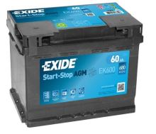 Autobaterie EXIDE Start-Stop AGM, 12V, 60Ah, EK600