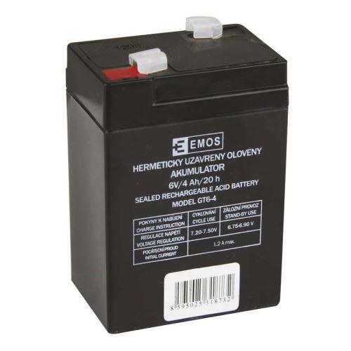 Olověný bezúdržbový akumulátor SLA 6V, 4Ah, F1, úzký, ke svítilně 3810 atd.