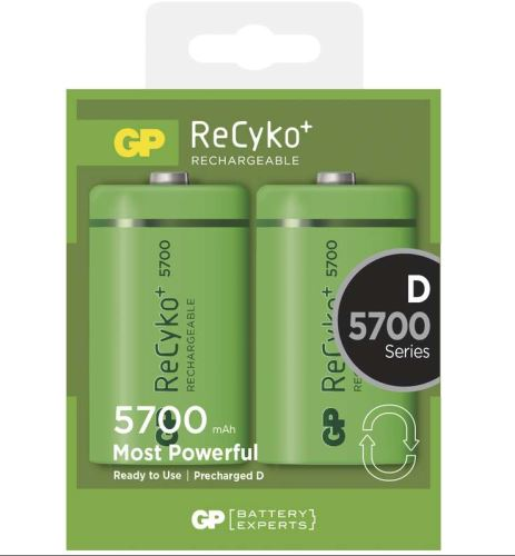 Baterie GP Recyko+ HR20, D, nabíjecí, 5700mAh, (Blistr 2ks), 1033412010, B0842