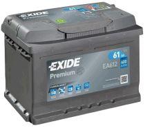 Autobaterie EXIDE Premium, Carbon Boost, 12V, 61Ah, 600A, EA612
