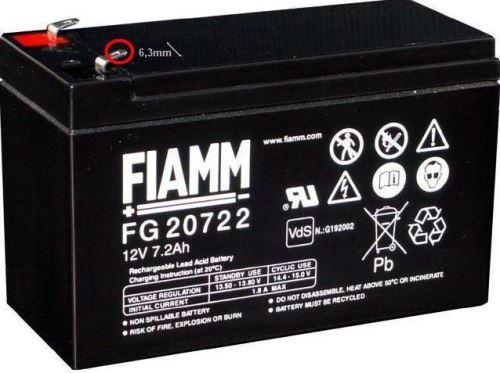 Olověný akumulátor Fiamm FG20722, 7,2Ah, 12V, (faston 250)