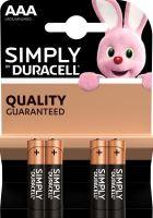 Baterie Duracell Simply MN2400, AAA, alkaline, Blistr 4ks