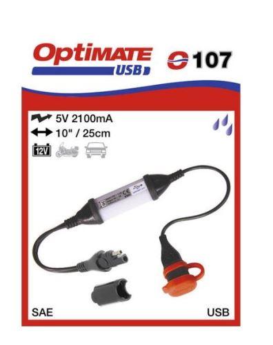O107 příslušenství k Accumate a Optimate - SAE uni nabíječka s voděodolnou zás. USB 2,1A