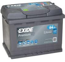Autobaterie EXIDE Premium, Carbon Boost, 12V, 64Ah, 640A, EA640