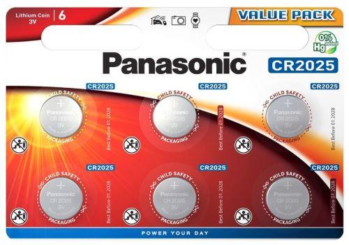 Baterie Panasonic CR2025, Lithium, 3V, CR-2025EL/6B (Blistr 6ks)