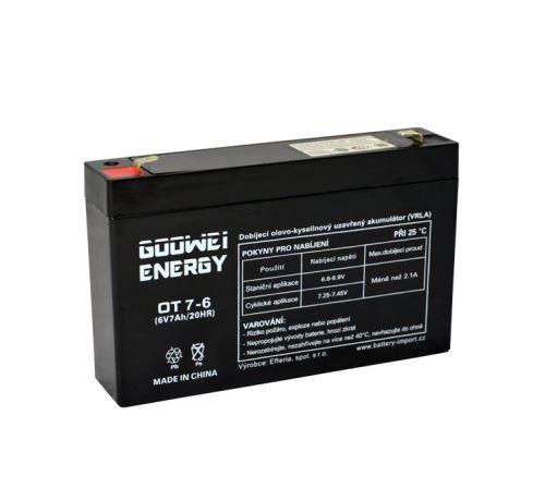 Staniční (záložní) baterie Goowei OT7-6, F1, 7Ah, 6V ( VRLA )