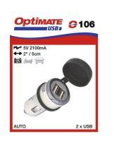 O106 příslušenství k Accumate a Optimate - USB nab s duálním výst. pro autozapalovač 2,1A