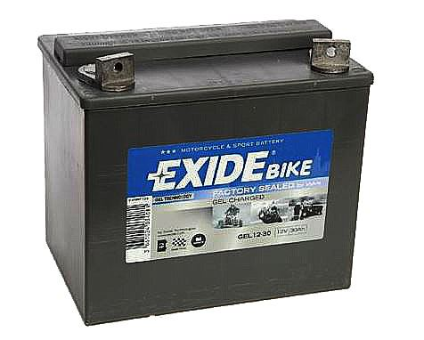 Motobaterie EXIDE BIKE Factory Sealed 30Ah, 12V, 180 A, GEL12-30