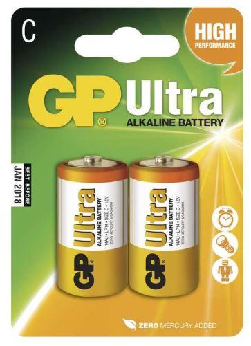 Baterie GP 14AU Ultra Alkaline, R14,C, (Blistr 2ks)