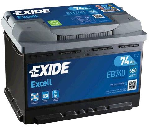 Autobaterie EXIDE Excell 12V, 74Ah, 680A, EB740