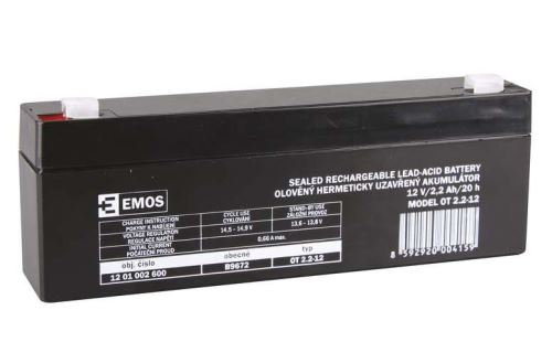 Olověný bezúdržbový akumulátor SLA Emos B9672 12V / 2,2Ah, F1, úzký, 1201002600