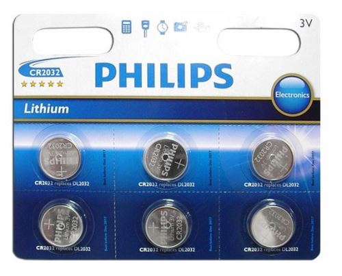 Baterie Philips CR2032, Lithium, 3V, (Blistr 6ks)