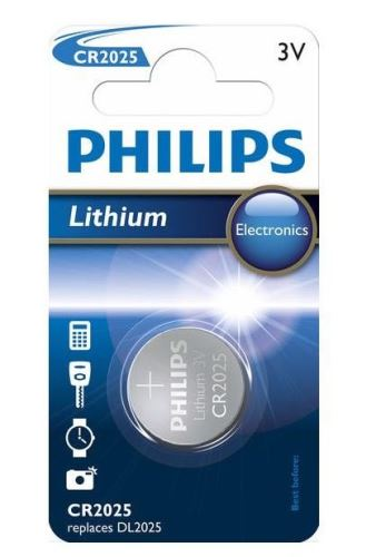 Baterie Philips CR2025, Lithium, 3V, (Blistr 1ks)