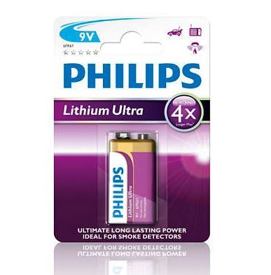 Baterie Philips 6FR61, 9V, Lithium Ultra, (Blistr 1ks)