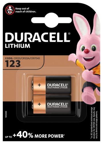 Baterie Duracell CR123, Lithium, fotobaterie, (blistr 2ks)