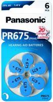 Baterie do naslouchadel Panasonic Zinc-Air PR675, (Blistr 6ks)