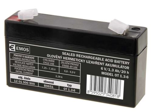 Olověný bezúdržbový akumulátor SLA Emos B9651 6V / 1,3Ah, F1, úzký, 1201000500