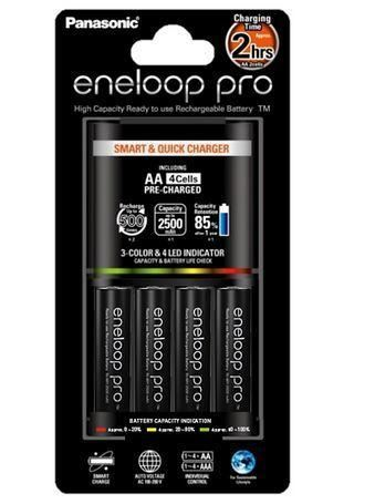 Nabíječka Panasonic Eneloop BQ-CC55E + 4x AA Eneloop Pro 2500mAh, K-KJ55HCD40E