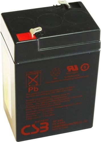 Akumulátor (baterie) CSB GP645, 6V 4,5Ah, Faston 187, F1, úzký