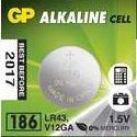 Baterie GP Alkaline 186, AG12, LR43, L1142  1,5V, (Blistr 1ks)
