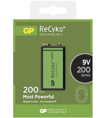 Baterie GP Recyko+ 6F22, 9V, nabíjecí, 200mAh, (Blistr 1ks)