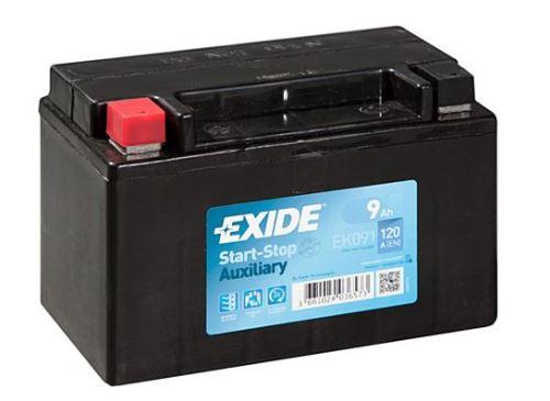 Autobaterie EXIDE Start-Stop Přídavná (Auxiliary), 12V, 9Ah, 120A, EK091