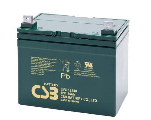 Akumulátor (baterie) CSB EVX12340, 12V, 34Ah, šroubová spojka M6