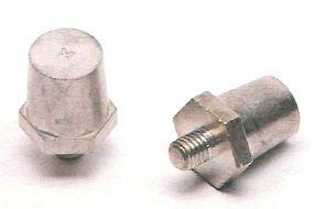 Adaptér (redukce) na kulaté póly do závitu M8 hubený ( plus a mínus) 1 pár