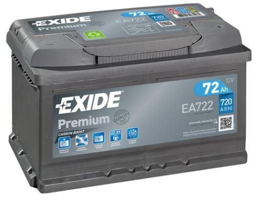 Autobaterie EXIDE Premium, Carbon Boost, 12V, 72Ah, 720A, EA722