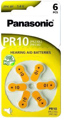 Baterie do naslouchadel Panasonic Zinc-Air PR10(230)/6LB, (Blistr 6ks)