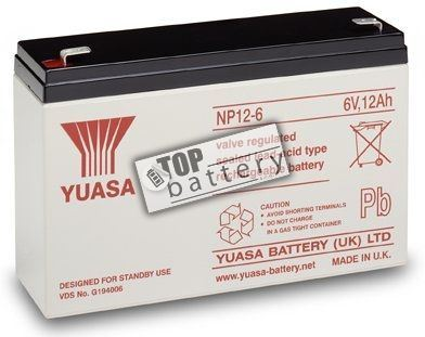 Záložní akumulátor (baterie) Yuasa NP 12-6 (12Ah, 6V)