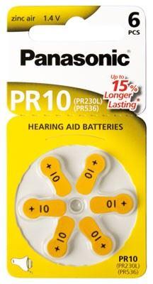 Baterie do naslouchadel Panasonic Zinc-Air PR10, (Blistr 6ks)