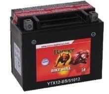 Motobaterie Banner Bike Bull AGM YTX12-BS, 12V, 10Ah, Levá