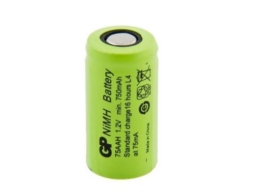 Akumulátor GP 75AAH, 2/3AA, 1,2V, 750mAh, Ni-MH, 1ks