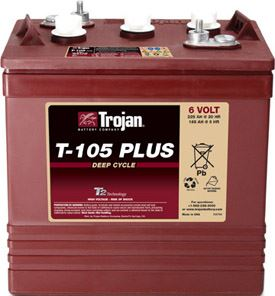 Trakční baterie Trojan T 105 Plus (3 / 9 GiS 197 BS Plus, 225Ah, 6V - průmyslová profi