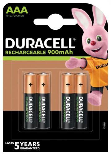 Baterie Duracell Stay Charged HR03, AAA, 900mAh, nabíjecí, (Blistr 4ks)