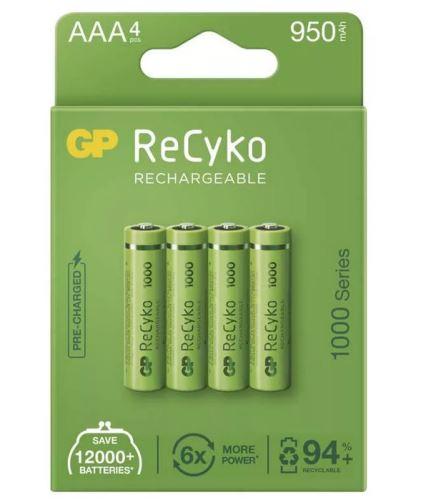 Baterie GP ReCyko+ 1000mAh ,HR03 (AAA), Ni-Mh, nabíjecí, 1032124100 (Blistr 4ks)