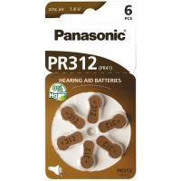 Baterie do naslouchadel Panasonic Zinc-Air PR312(41)/6LB, (Blistr 6ks)