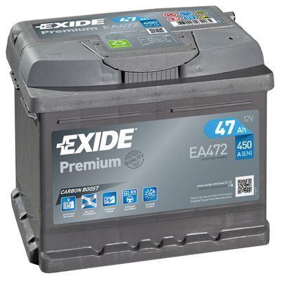 Autobaterie EXIDE Premium, 12V, 47Ah, 450A, EA472, Carbon Boost