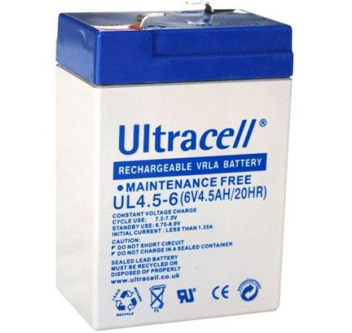 Staniční (záložní) baterie Ultracell UL4,5-6, F1, 4,5Ah,6V, VRLA