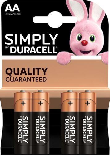Baterie Duracell Simply MN1500, AA, alkaline, Blistr 4ks