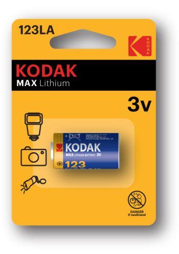 Baterie Kodak Max CR123A, Lithium, fotobaterie, (Blistr 1ks)
