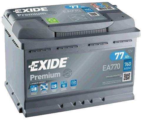 Autobaterie EXIDE Premium, 77Ah, 12V, 760A, EA770, Carbon Boost