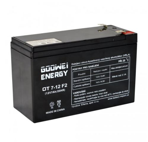 Staniční (záložní) baterie Goowei OT7-12, F2, 7Ah, 12V ( VRLA )