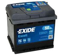 Autobaterie EXIDE Excell 12V, 50Ah, 450A, EB501 - Levá