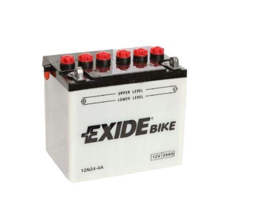Motobaterie EXIDE BIKE Conventional 24Ah, 12V, 200A, 12N24-4A, levá