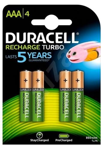 Baterie Duracell Stay Charged HR03, AAA, 850mAh, nabíjecí, (Blistr 4ks)