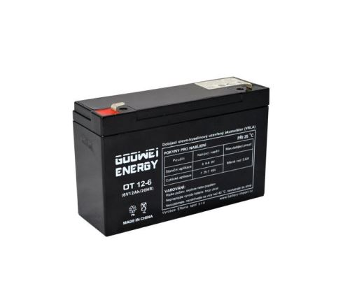Staniční (záložní) baterie Goowei OT12-6, F1, 6V, 12Ah (VRLA)