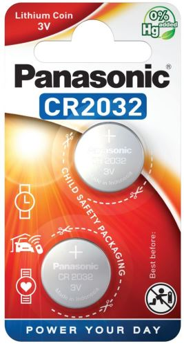Baterie Panasonic CR2032, Lithium, 3V, CR-2032EL/2B, 2B380562, (Blistr 2ks)